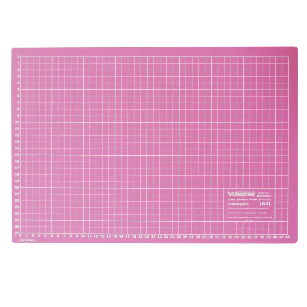 Base para Corte de Tecidos Patchwork e Scrapbook Frente e Verso 45X30 Rosa