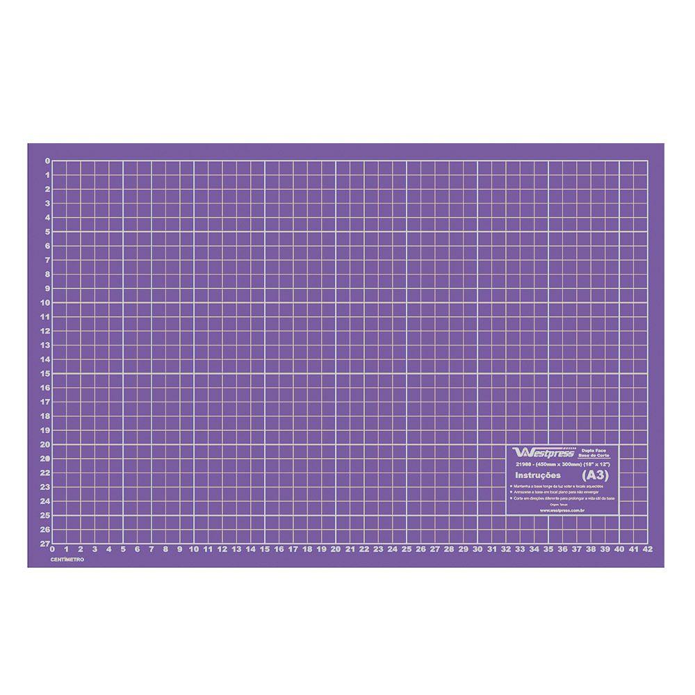 Base para Corte de Tecidos Patchwork e Scrapbook Frente e Verso - 60X45 Roxa