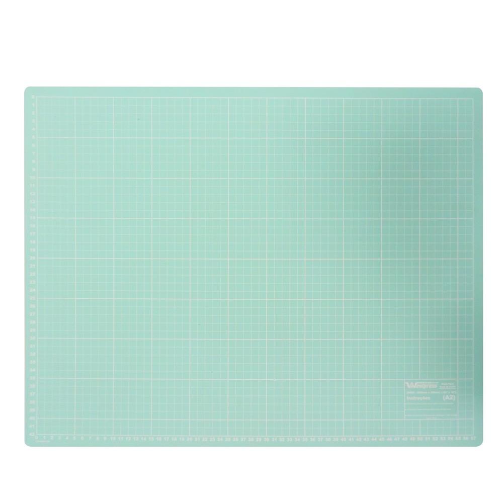 Base para Corte de Tecidos Patchwork e Scrapbook Frente e Verso 90X60 Azul Turquesa