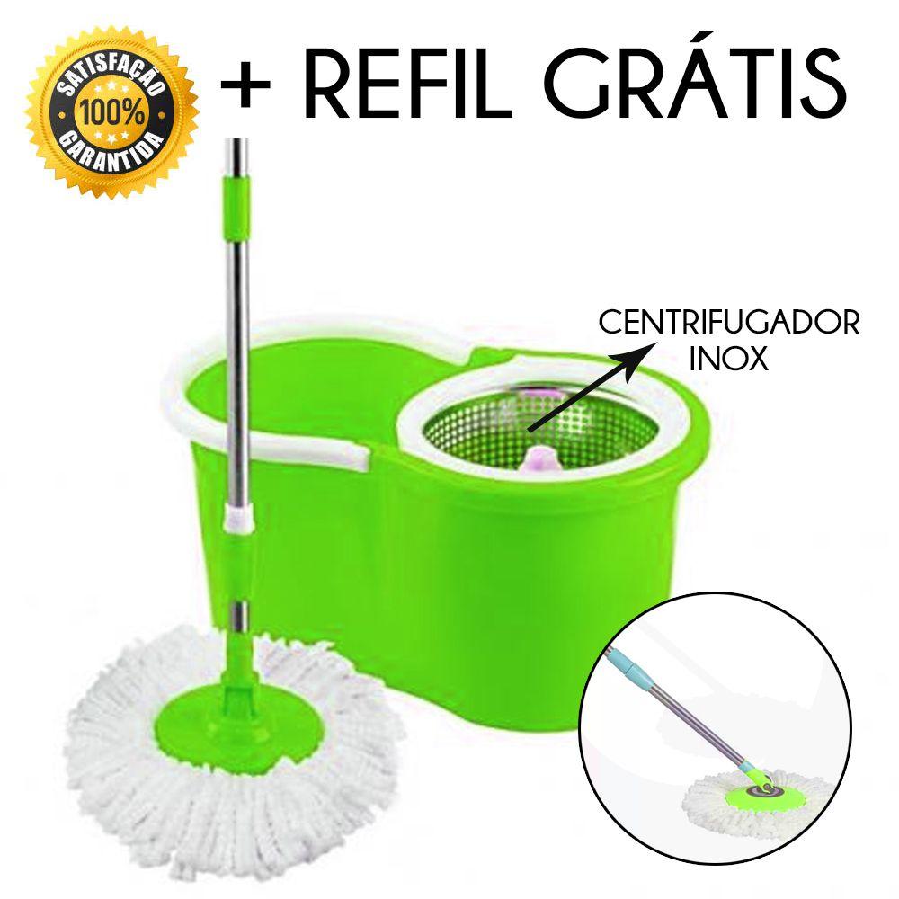 Esfregão Mop Limpeza Microfibra 360º balde Centrífuga Refil