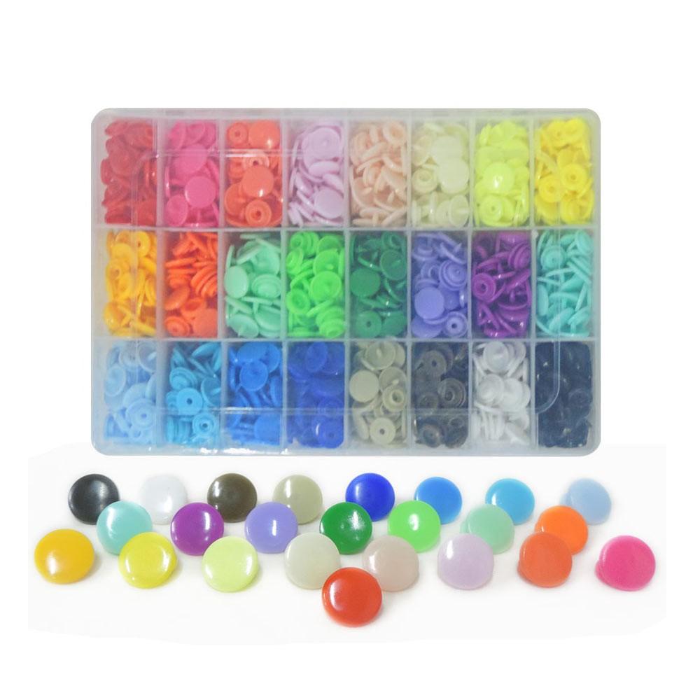 Estojo com 360 Botões Ritas de Pressão de Plástico com 24 Cores