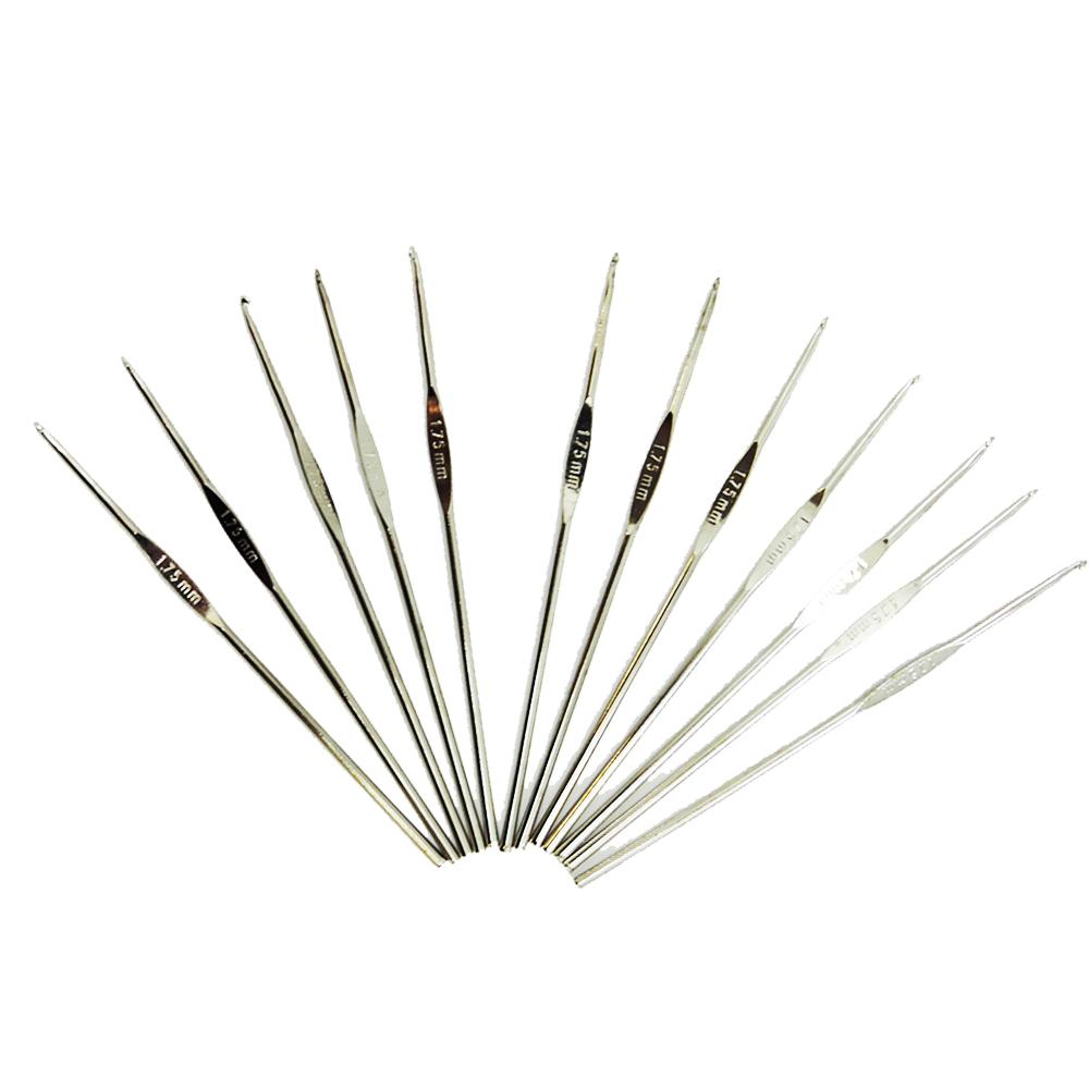 Kit de 12 Agulhas Alumínio para Crochê 0.6 ao 1.5mm