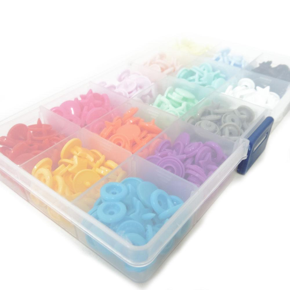 Kit de Botões De Pressão Estrela Coloridos Tic Tac Sortidos Box Com 150 Botões