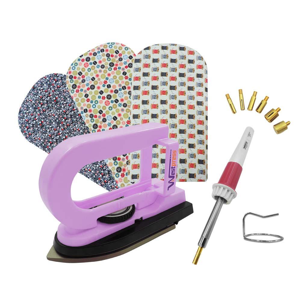 Kit Mini Ferro Rosa com Mini Tábua e Aplicador de Strass Para Artesanato e Patchwork