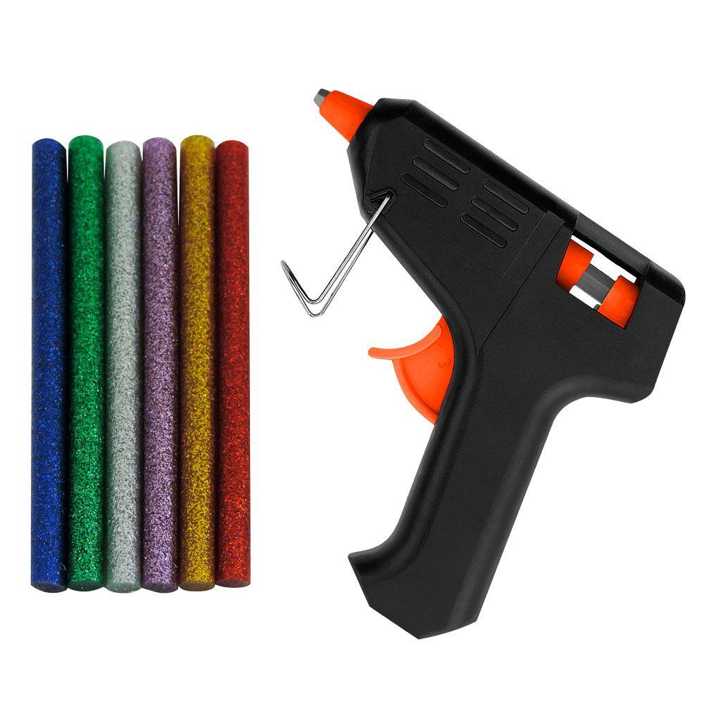 Kit Pistola e Bastão de Cola Quente com Glitter
