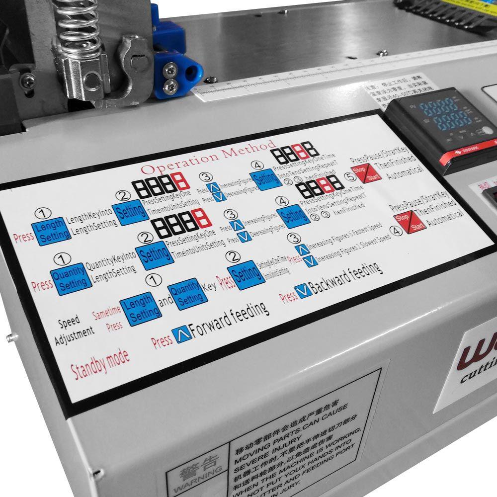 Máquina de Corte Automático Quente e Frio Elástico Passante Velcro e Etiquetas W-110lR-E