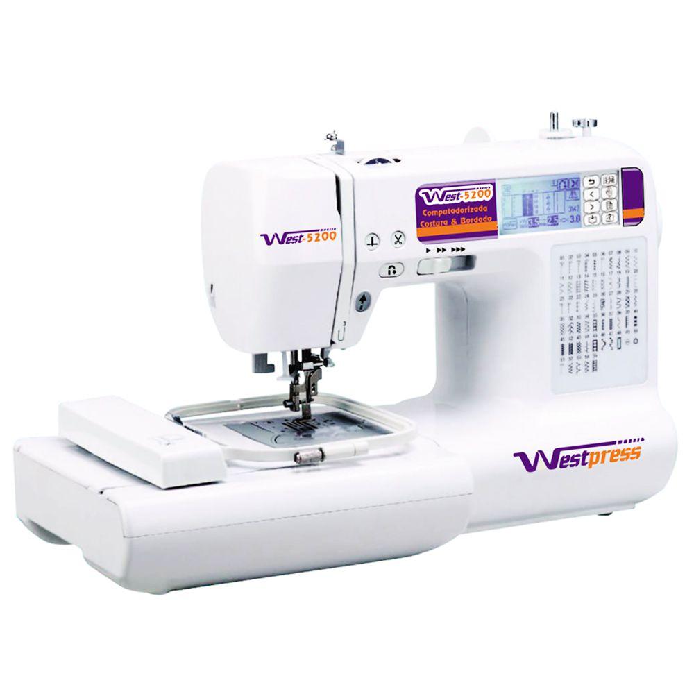 Máquina de Costura e Bordado Eletrônica 55 Pontos West 5200