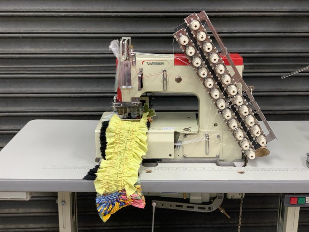 Máquina de Costura Industrial para Elastex Base Plana 12 Agulhas 24 Fios W-4412P