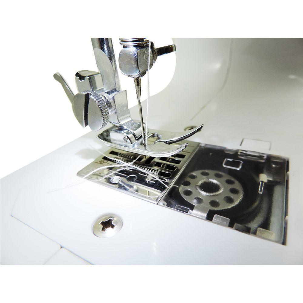Máquina de Costura Portátil 30 Pontos para Tecidos Leves e Médios Bivolt