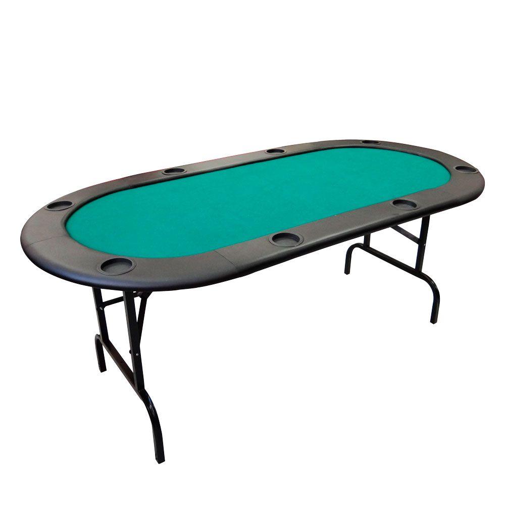 Mesa Luxo Oval com Pé dobrável e porta copos para 8 lugares