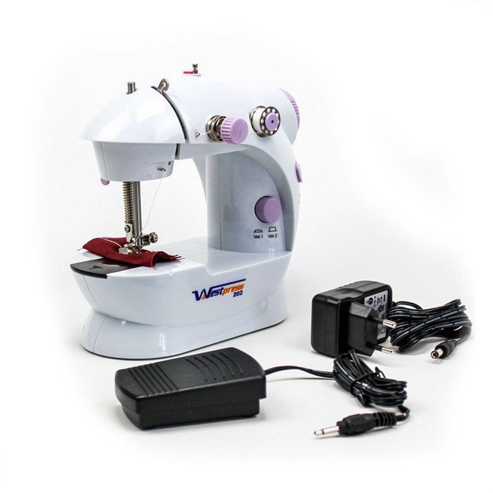 Mini Máquina de Costura para Reparos e Tecidos Leves West-202