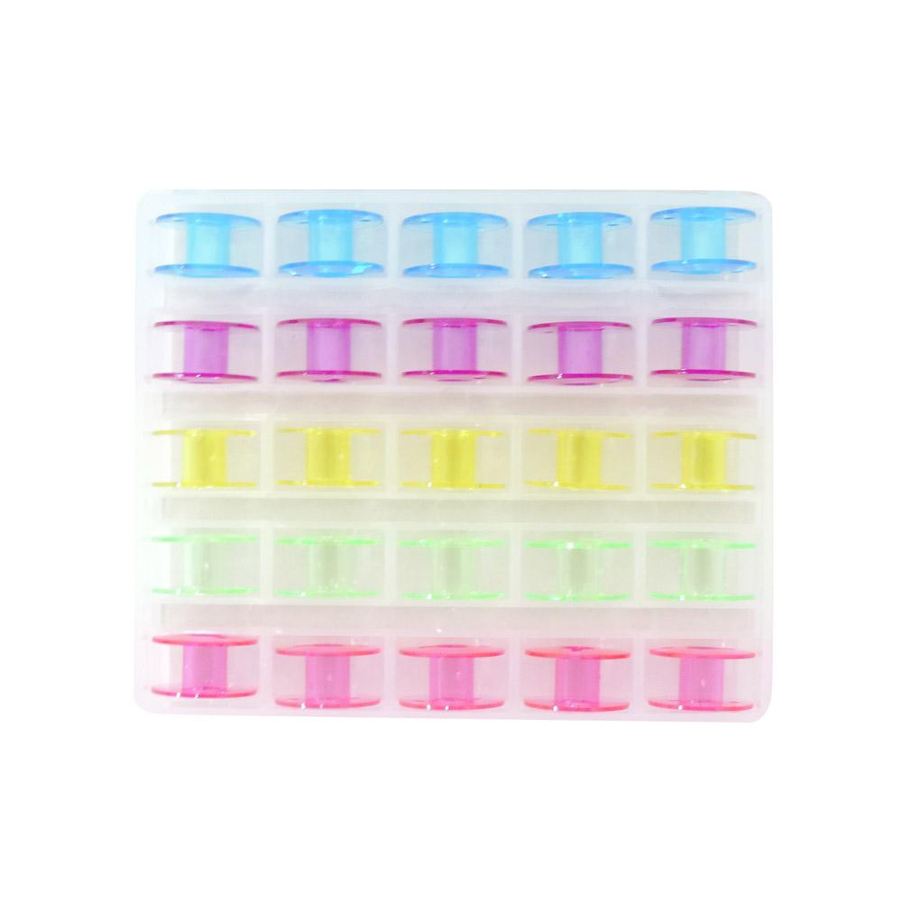 Porta Bobina Estojo com 25 Bobinas Plásticas Coloridas (Baixa)