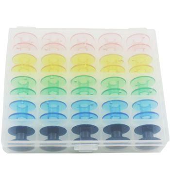 Porta Bobina Estojo com 25 Bobinas Plásticas Coloridas