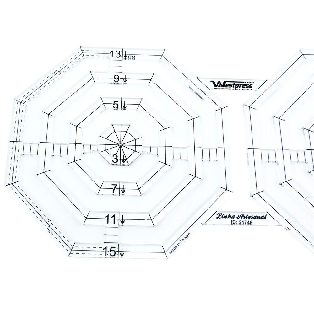 Régua Patchwork Criative Octógono 15 x 16 cm