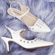 Scarpin Slingback Croco Mary Off White