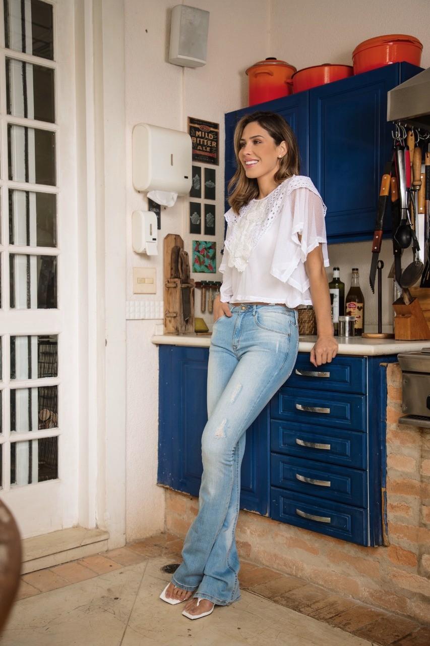 Calça Flare Jeans Claro