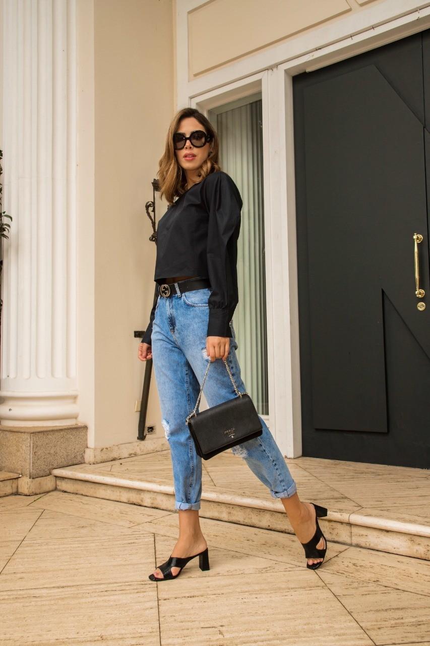 Calça Mom Fit Jeans Claro