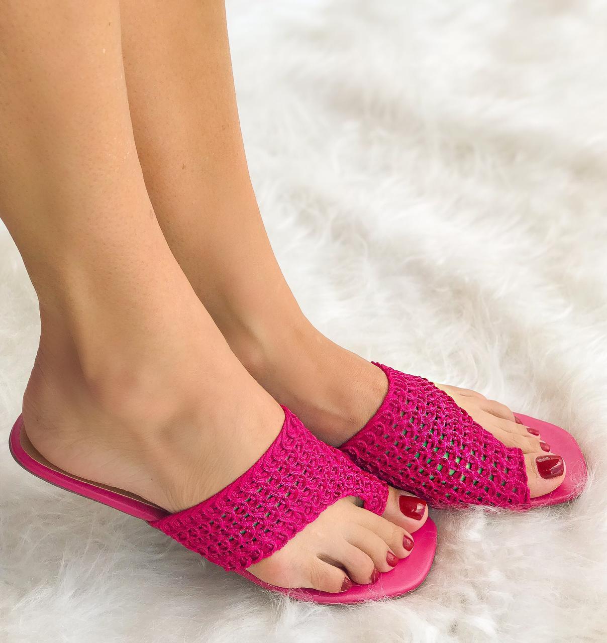 Rasteira Malu Crochet Pink