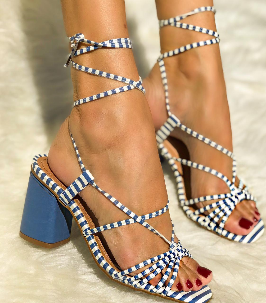 Sandália Adele Azul Listras