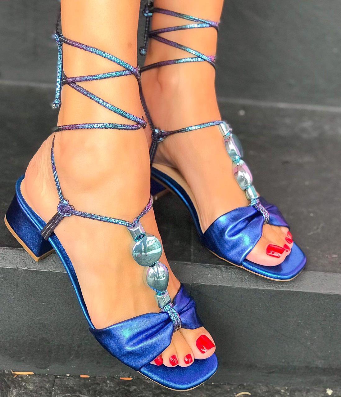 Sandália Ariel Azul Metalizado