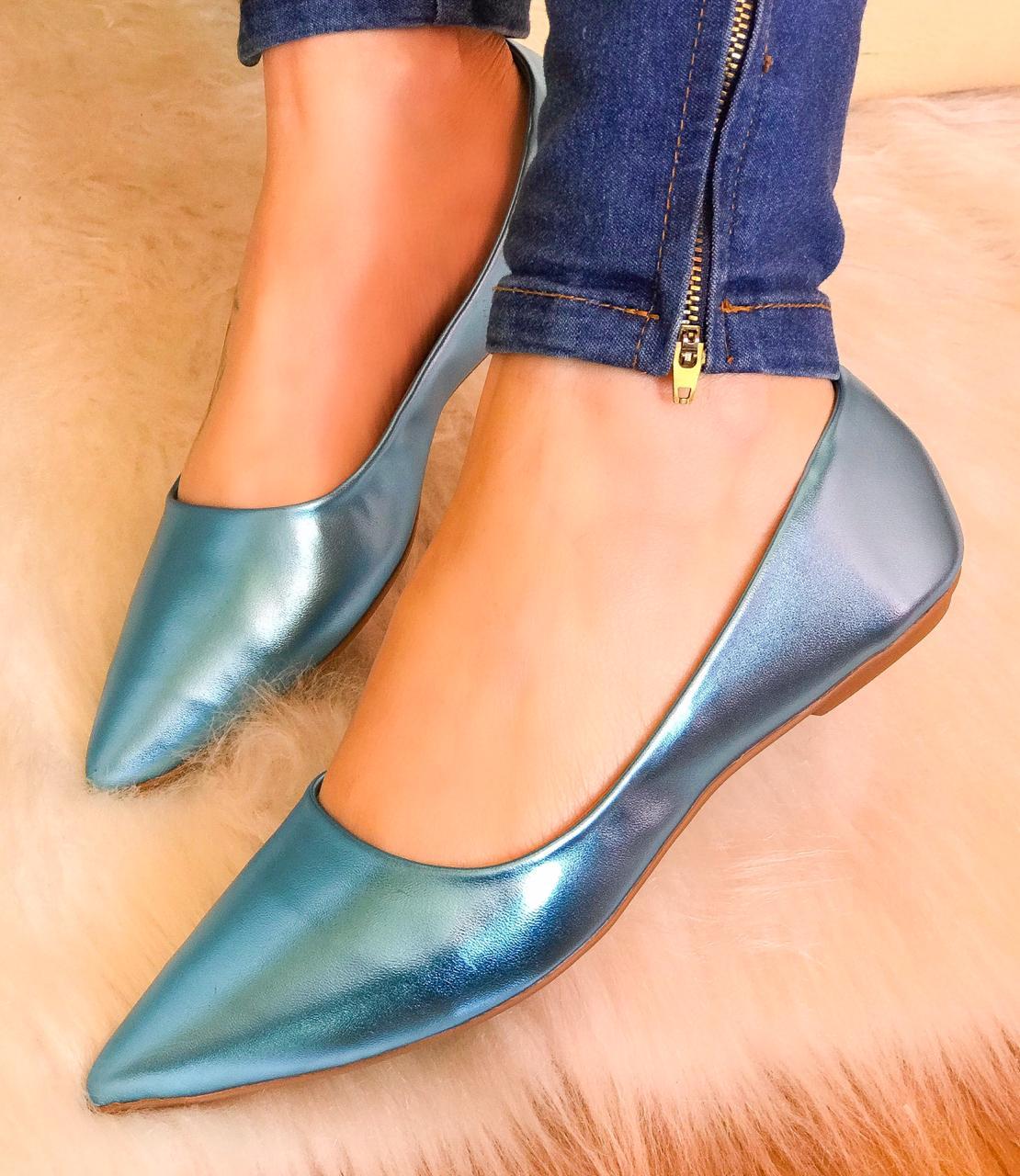 Sapatilha Tina Azul Celeste Metalizado