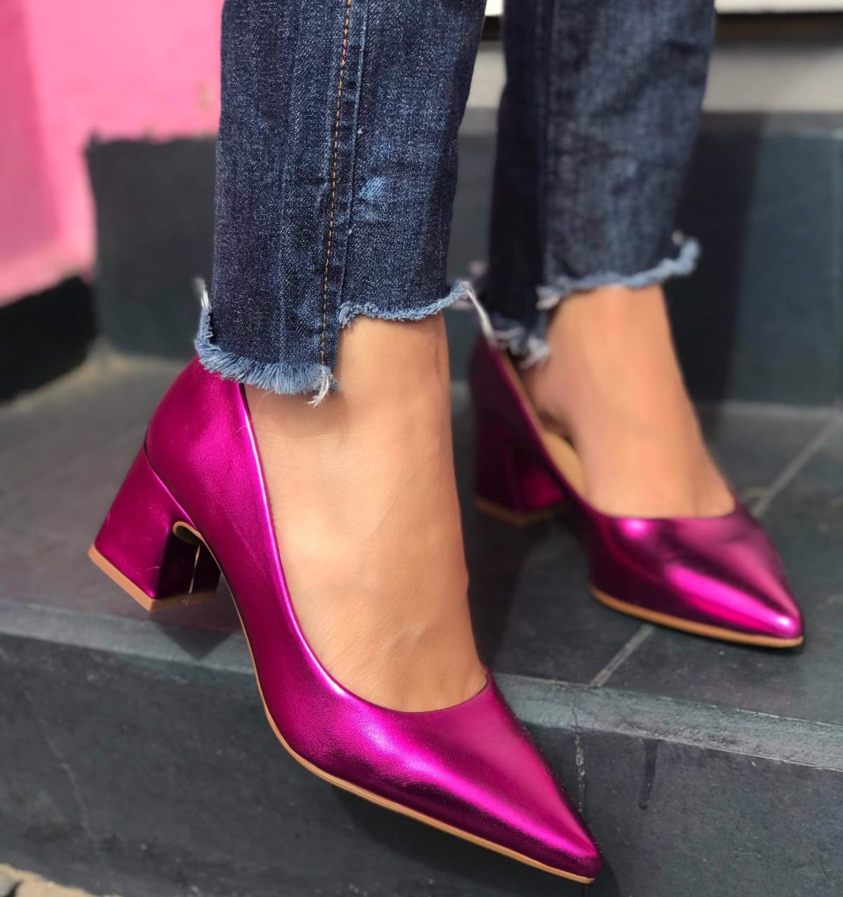 Scarpin Olívia Pink Metalizado
