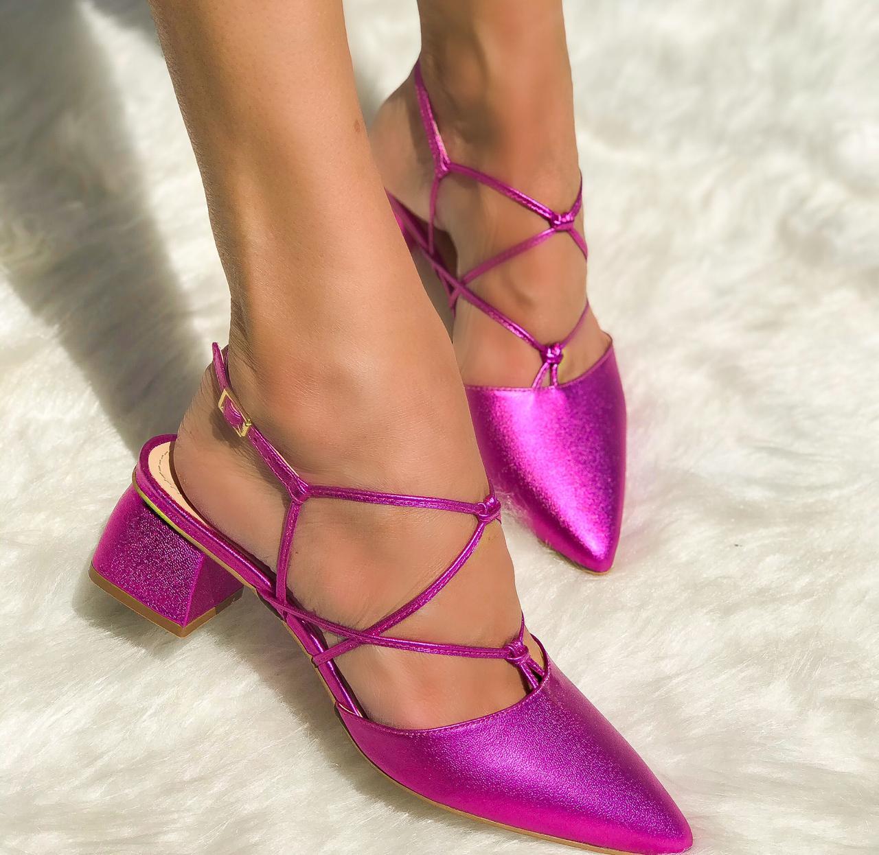 Scarpin Sabrina Pink Metalizado
