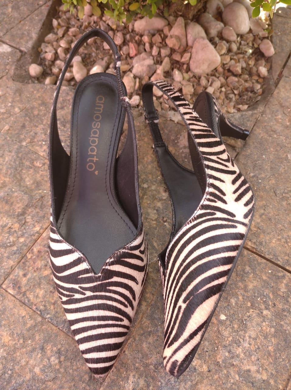 Scarpin Slingback Letícia Zebra