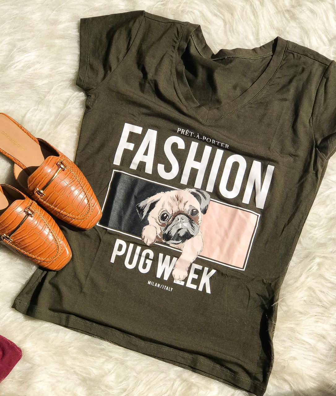 T-shirt Pug Verde