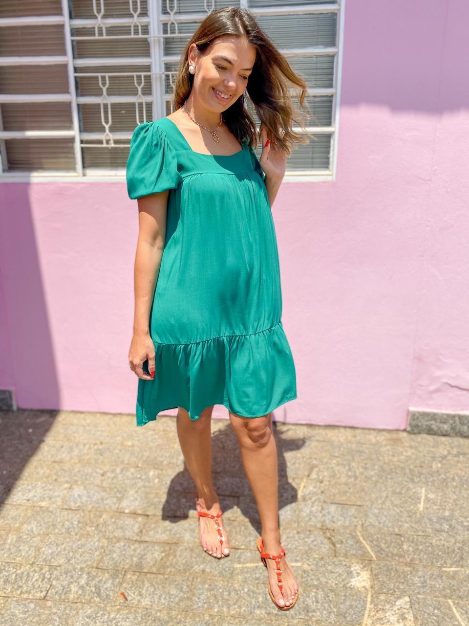 Vestido Angelina Verde Bandeira