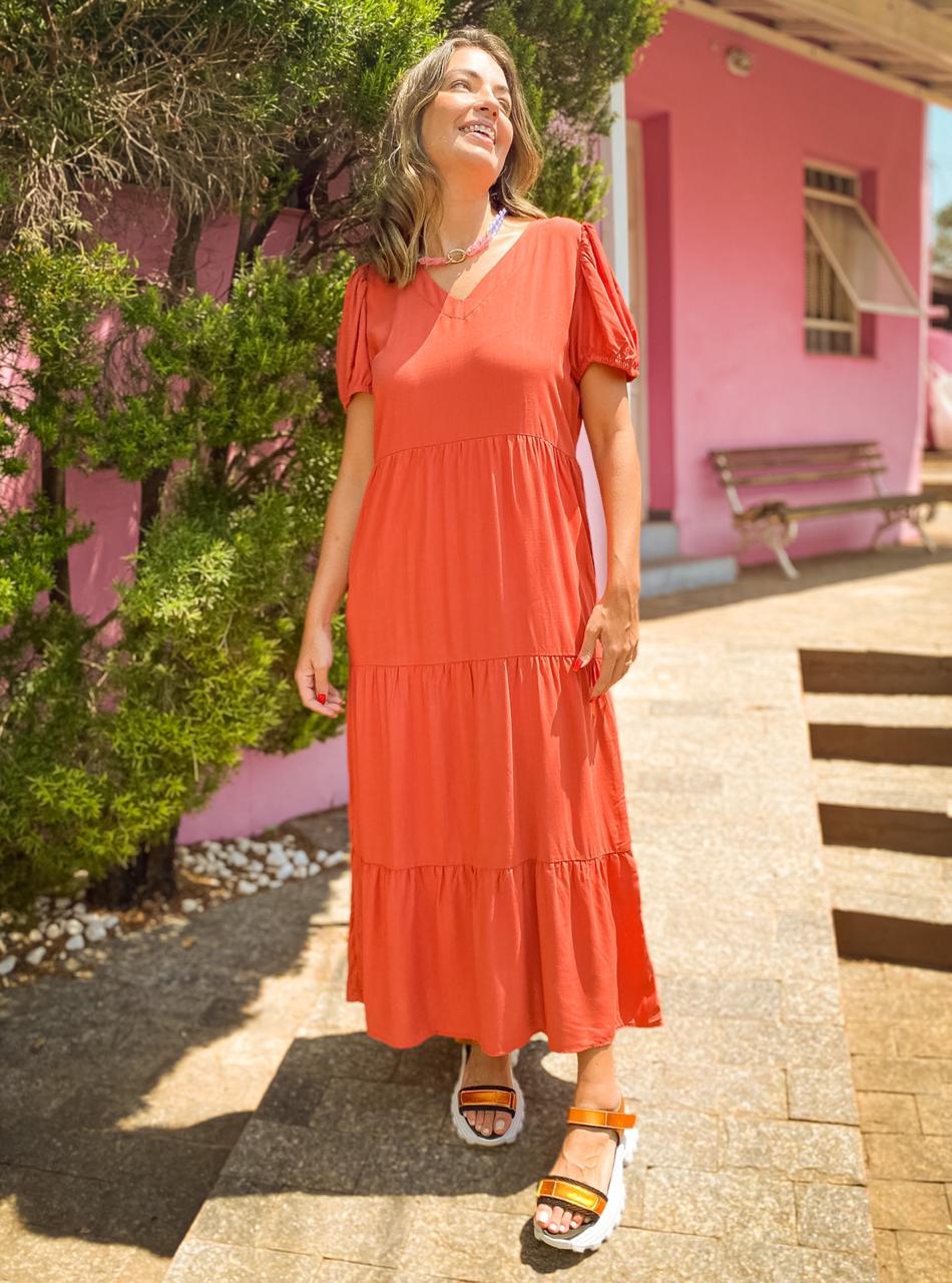 Vestido Longo Maya Terracota