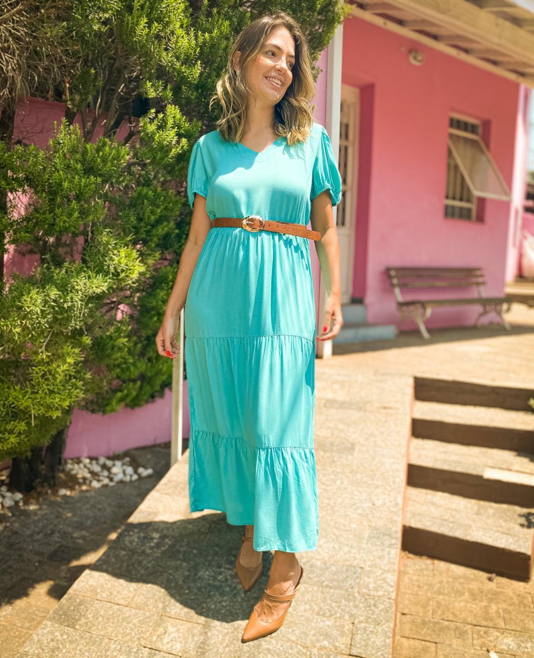 Vestido Longo Maya Turquesa
