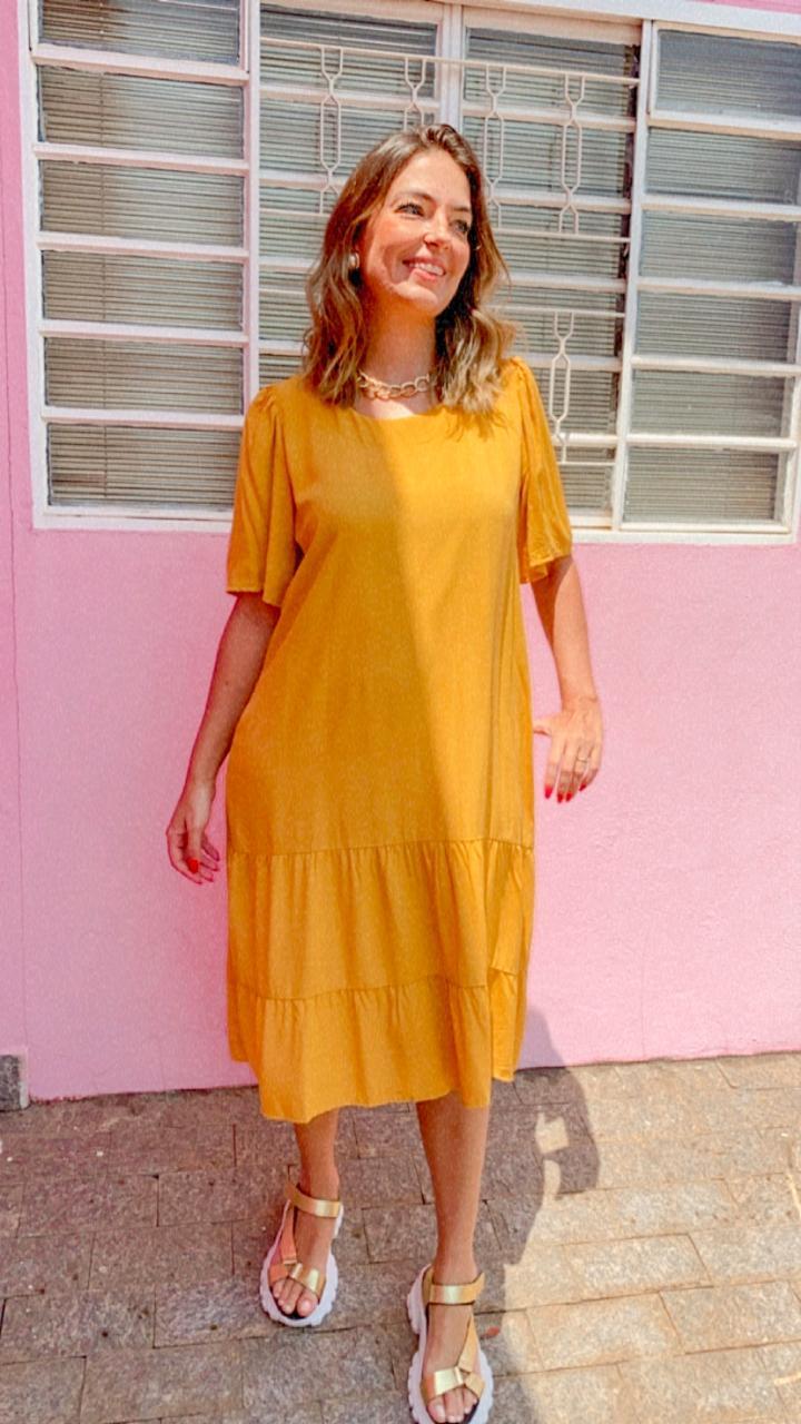 Vestido Midi Clarice Mostarda