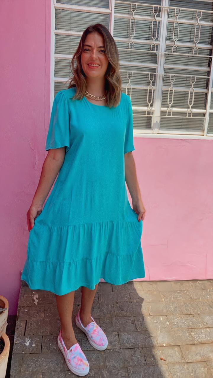 Vestido Midi Clarice Turquesa