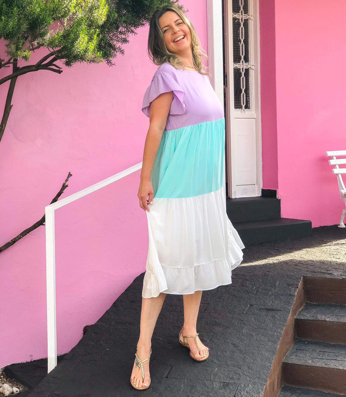 Vestido Midi Libélula Lilás/Turquesa/Branco