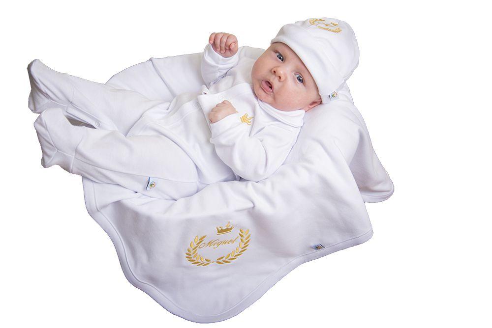 Saída de Maternidade Personalizada Azul Marinho Bordado Dourado