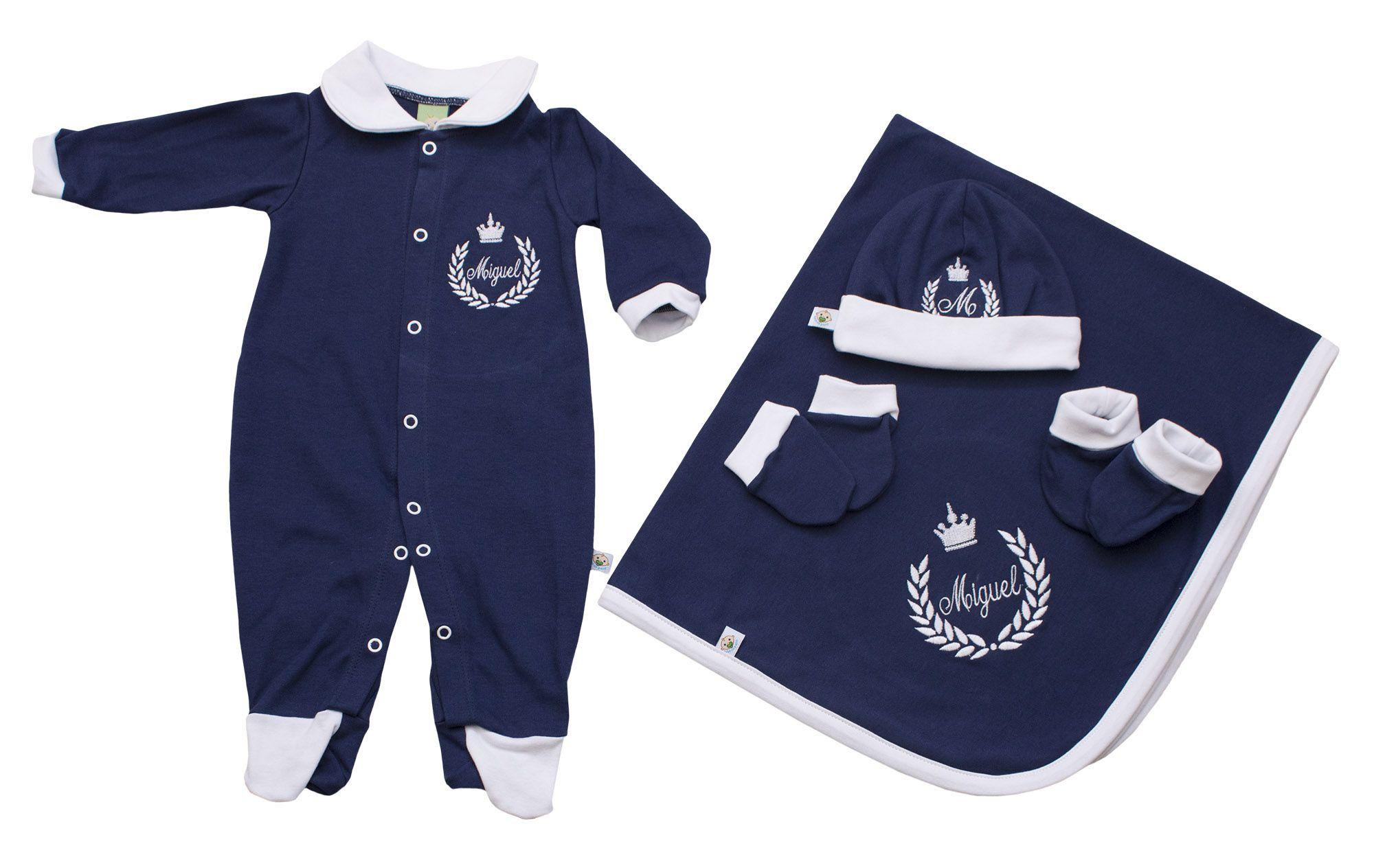 Saída de Maternidade Personalizada Azul Marinho com Gola Branca