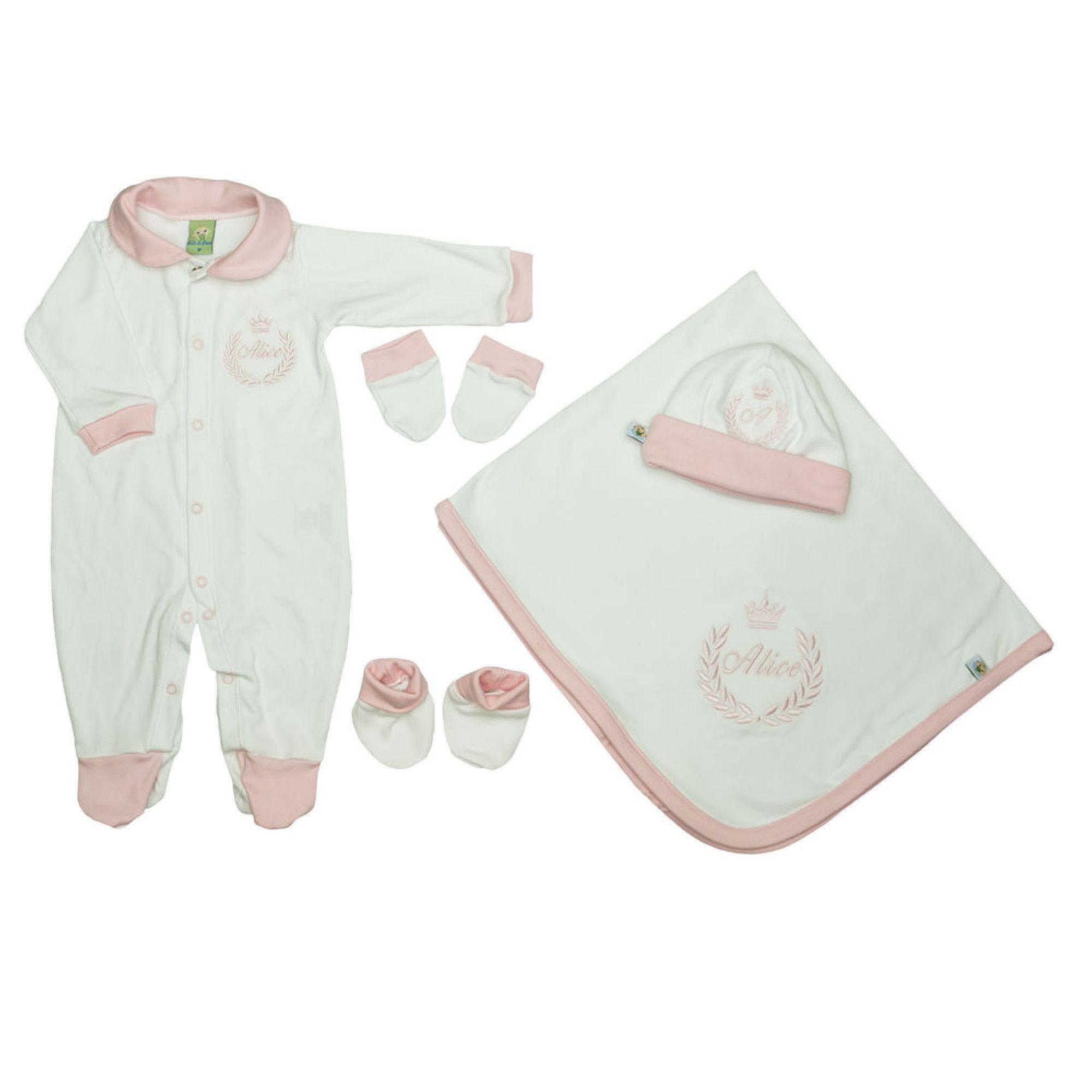 Saída de Maternidade Personalizada Branca Bordado Rosa