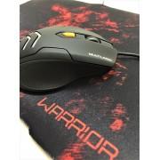 Kit Gamer Mouse 3200Dpi Com Mouse Pad Warrior Vermelho