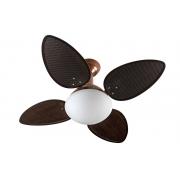 Ventilador de Teto Jet Venti-delta Cobre 4Pás Rattan Chocolate 220V+Controle Rem.