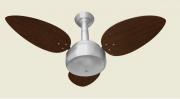 Ventilador De Teto Miray Escovado 3 Pás De Mdf Prata/Tabaco 110V