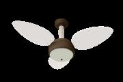 Ventilador De Teto Miray Marrom 3 Pás De Mdf Branco 220V