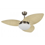 Ventilador De Teto VD42 Dunamis Bronze 3Pás Rattan Natural 220V+Controle