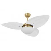 Ventilador De Teto VD42 Dunamis Dourado 3Pás Rattan Branco 110V+Controle