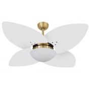 Ventilador De Teto VD42 Dunamis Dourado 4Pás MDF Branco 220V+Controle