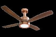 Ventilador de Teto Vintage LED 4 Pás de MDF Laqueadas