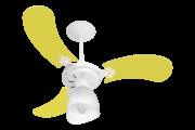 Ventilador Teto New Baby Colors 3 Pás Mdf Branco/Amarelo 220V