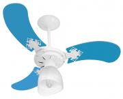 Ventilador Teto New Baby Colors 3 Pás Mdf Branco/Azul 220V