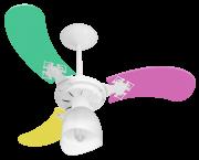 Ventilador Teto New Baby Colors 3Pás Mdf Branco/Feminino 220V