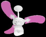 Ventilador Teto New Baby Colors 3 Pás Mdf Branco/Rosa 220V